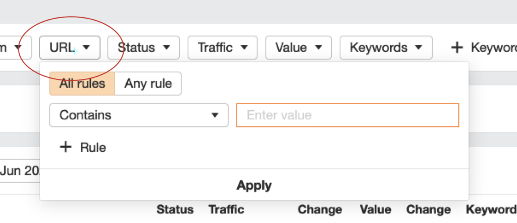 FILTER BY url contains in AHREFS
