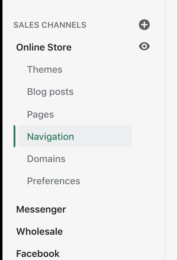 Click 'navigation' in Shopify