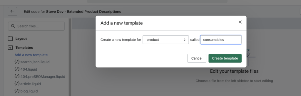 Creating new product templates in Shopify